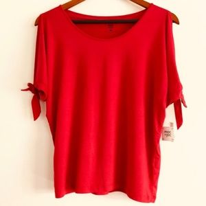 macy's mac & jac Red Cold Shoulder Blouse nwt